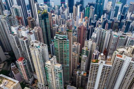 Central, Hong Kong 29 April 2019: Top down view of Hong Kong city 에디토리얼