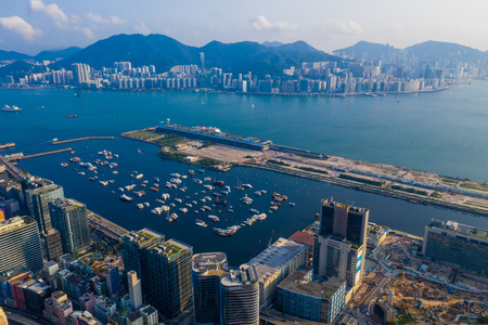 Kai Tak, Hong Kong 25 Apirl 2019: Top view of Hong Kong city