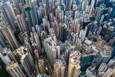 Top down view of Hong Kong urban city