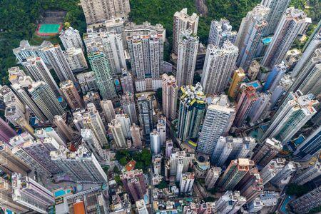 Central, Hong Kong 29 April 2019: Top down view of Hong Kong city 版權商用圖片