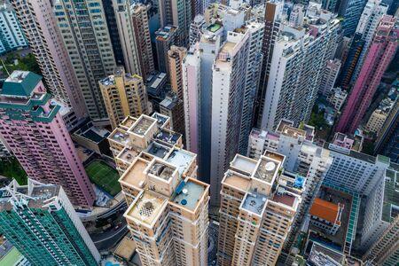 Central, Hong Kong 29 April 2019: Drone fly over Hong Kong city 免版税图像