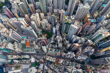 Central, Hong Kong, 30 April 2019: Top view of Hong Kong city 免版税图像