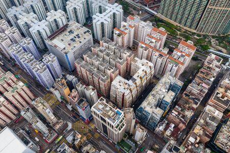 Hung Hom, Hong Kong 21 April 2019: Aerial view of Hong Kong city building Stock fotó