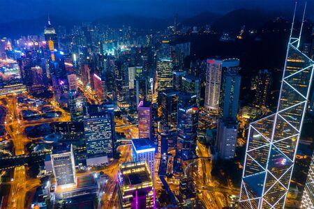 Central, Hong Kong 29 April 2019: Top view of Hong Kong downtown city at night