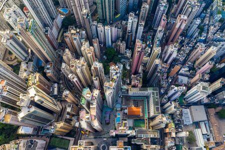 Central, Hong Kong 30 April 2019: Top view of Hong Kong city