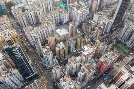 Sham Shui Po, Hong Kong 18 March 2019: Top view of Hong Kong city 免版税图像