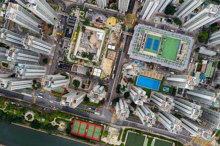 Sha Tin, Hong Kong 04 May 2019: Top view of Hong Kong residential district 免版税图像