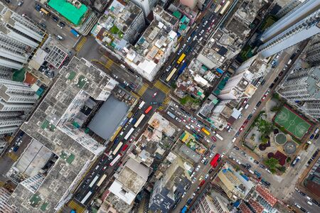 Sham Shui Po, Hong Kong 07 May 2019: Aerial view of Hong Kong city 版權商用圖片