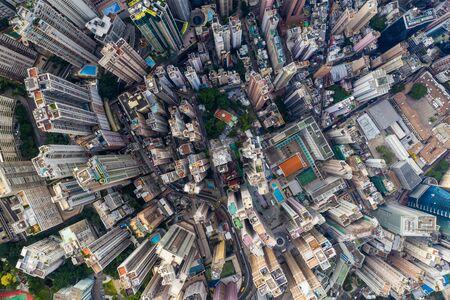 Central, Hong Kong 29 April 2019: Drone fly over Hong Kong cityscape