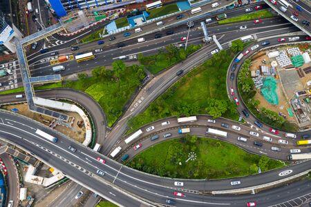 Causeway Bay, Hong Kong 07 May 2019: Top view of Hong Kong traffic in city
