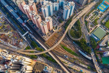 Kowloon Bay, Hong Kong 25 April 2019: Top down view of Hong Kong train track station