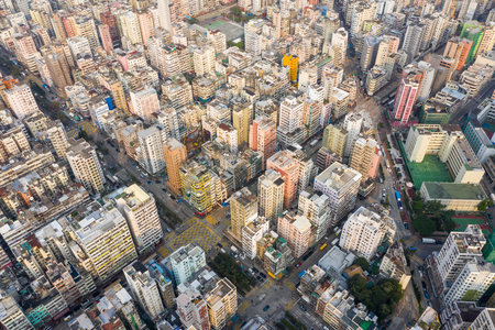 Sham Shui Po, Hong Kong 18 March 2019: Top down view of Hong Kong urban city