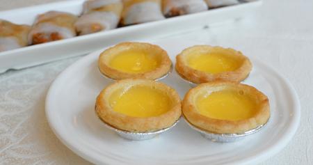 Egg tart dim sum in chinese restaurant Stock Photo
