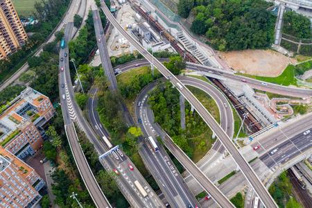 aerial view of Hong Kong traffic