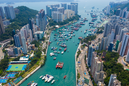Top down view of Hong Kong fishing harbor port