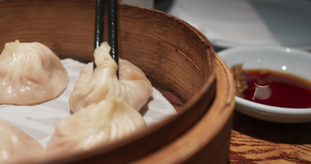 Steamed meat dumpling in restaurant