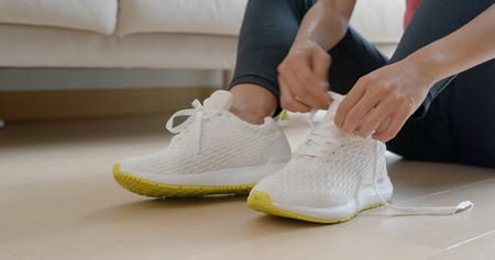 Woman wear sport shoes for run