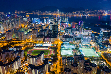 Kowloon Bay, Hong Kong 25 April 2019: Top view of city of Hong Kong at night Editorial