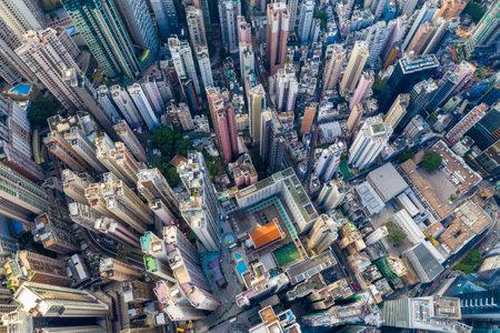Central, Hong Kong 29 April 2019: Drone fly over Hong Kong city