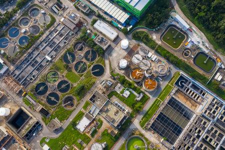Tai Po, Hong Kong 20 May 2019: Top view of sewage plant in Hong Kong Stock Photo - 124585352