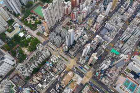 Sham Shui Po, Hong Kong 07 May 2019: Top view of Hong Kong city 写真素材 - 124660414