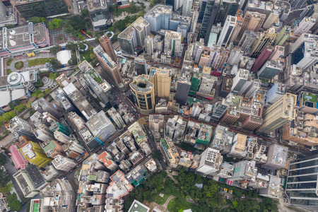 Tsim Sha Tsui East, hong Kong 21 April 2019: Aerial view of Hong Kong city