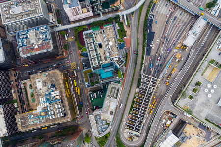 Hung Hom, Hong Kong 21 April 2019: Top down view of Hong Kong cross harbor tunnel Редакционное