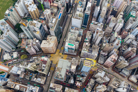 Hung Hom, Hong Kong 21 April 2019: Top down view of Hong Kong city