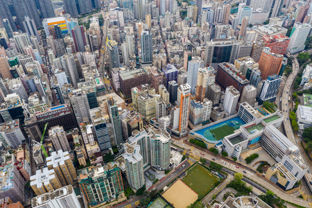 Jordan, Hong Kong, 21 April 2019: Aerial view of Hong Kong city