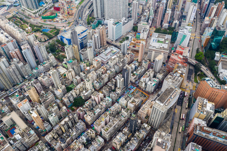 Jordan, Hong Kong 21 April 2019: Drone fly over Hong Kong city