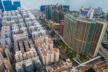 Hung Hom, Hong Kong 21 April 2019: Top view of Hong Kong city Редакционное