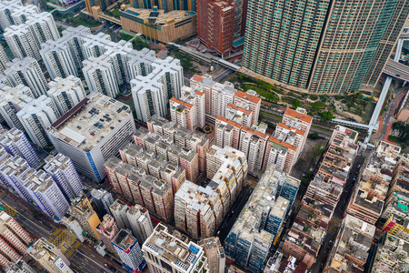 Hung Hom, Hong Kong 21 April 2019: Aerial view of Hong Kong city building Редакционное