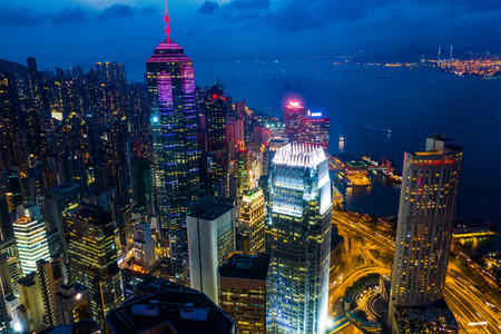 Central, Hong Kong 21 April 2019: Top view of Hong Kong business district at night