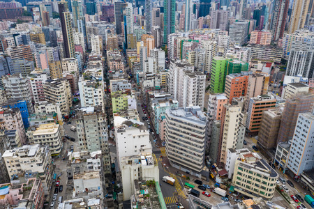 Sham Shui Po, Hong Kong 07 May 2019: Aerial view of Hong Kong city Редакционное