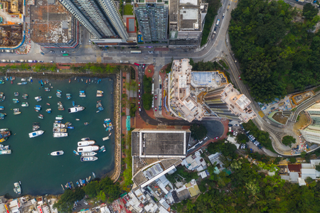 Lei Yue Mun, Hong Kong 22 May 2019: Top view of Hong Kong typhoon shelter Редакционное