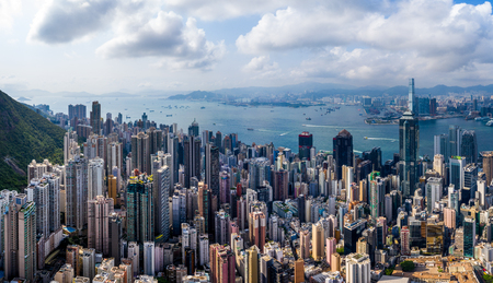 Victoria Harbor, Hong Kong 29 April 2019: Top view of Hong Kong city