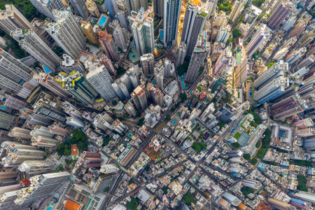 Central, Hong Kong 29 April 2019: Top view of Hong Kong downtown city Редакционное