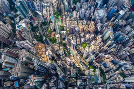 Central, Hong Kong, 30 April 2019: Aerial view of Hong Kong city Редакционное