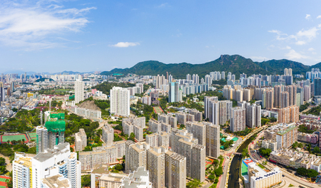 Wong Tai Sin, Hong Kong 12 May 2019: panoramic shot for the city in Hong Kong