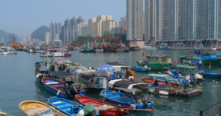 Aberdeen, Hong Kong 12 May 2019: Hong Kong fishing harbor port Редакционное