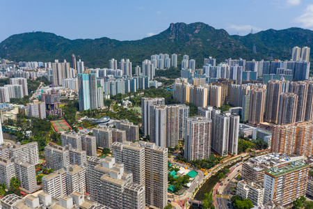 Wong Tai Sin, Hong Kong 12 May 2019: Aerial view of Hong Kong city