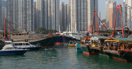Aberdeen, Hong Kong 12 May 2019: Hong Kong harbor port in aberdeen Редакционное