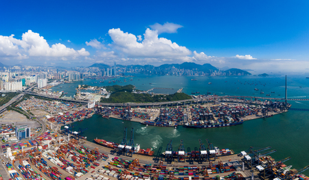 Kwai Chung, Hong Kong 15 May 2019:  Top view of Kwai Chung Cargo Terminal in Hong Kong Редакционное