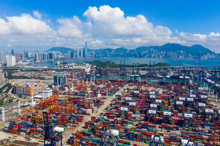 Kwai Chung, Hong Kong 15 May 2019: Kwai Chung Cargo Terminal in Hong Kong city