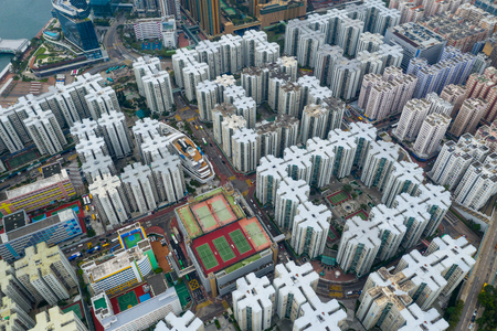 Hung Hom, Hong Kong 15 May 2019: Top view of Hong Kong residential district