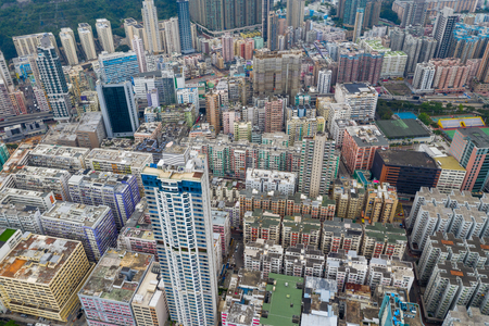 To kwa Wan, Hong Kong 15 May 2019: Aerial view of Hong Kong city Редакционное
