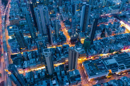 Kowloon City, Hong Kong 15 May 2019: Top view of Hong Kong city at night