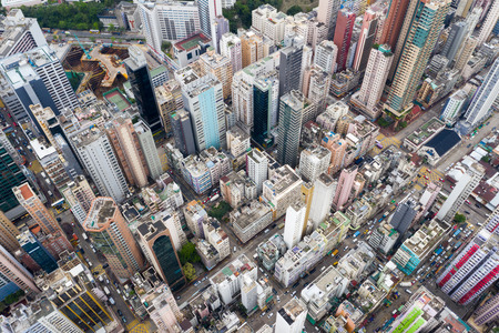 Mong Kok, Hong Kong 09 May 2019: Top view of Hong Kong urban city Редакционное