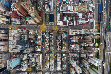 Mong Kok, Hong Kong 09 May 2019: Aerial view of Hong Kong city Редакционное