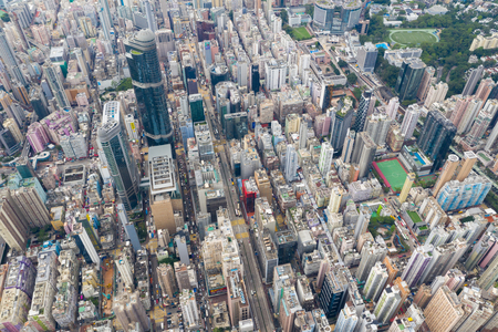 Yau Ma Tei, Hong Kong 09 May 2019: Top view of Hong Kong downtown city in Kowloon side